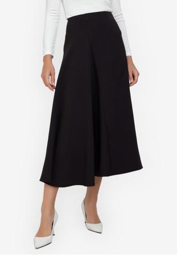 ZALORA WORK black Asymmetric Midi Skirt 5FAD7AA998FBA4GS_1