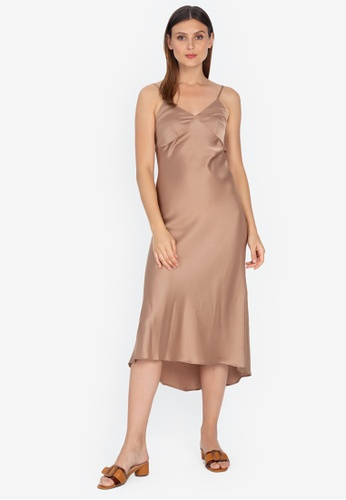Juanita The Label brown Glow with the Flow Silk Slip Dress E9AF4AA7301C19GS_1