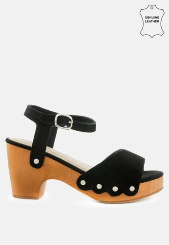 RAG & CO black Studded Suede Wooden Clogs 2155DSH91A6815GS_1
