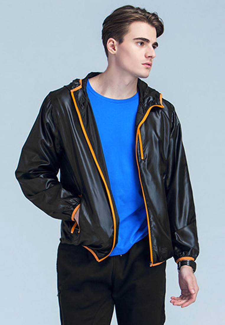 Contrasting Lines Athletic Jacket