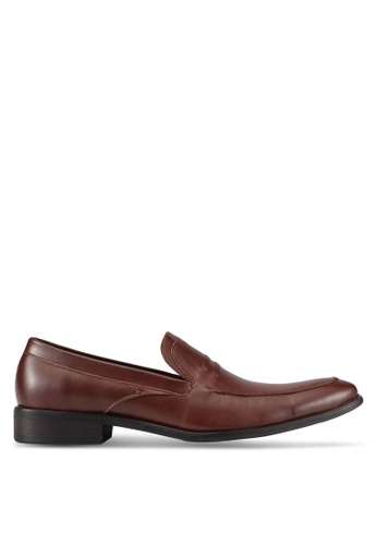 ZALORA brown Faux Leather Dress Loafers D3191AABB53E22GS_1