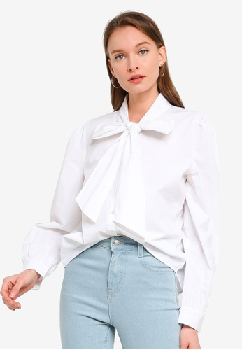 ONLY white Billie Bow Pearl Shirt A47EAAA373F059GS_1