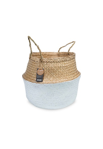 HOUZE white ecoHOUZE Seagrass Plant Basket With Handles - White (Large) 779F2HL4385081GS_1
