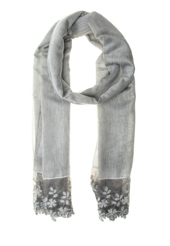 CIGNAL grey Sheer Shawl with Embroidered Edges CI922AC0K13NPH_1