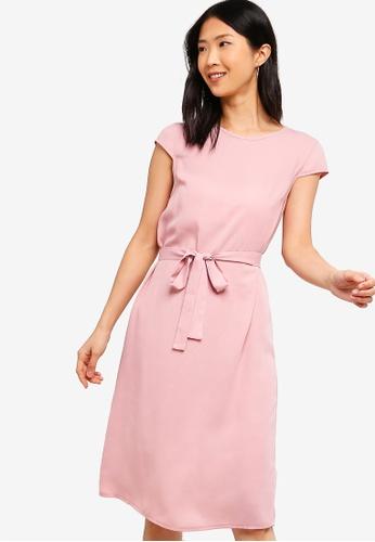 ZALORA BASICS pink Basic Midi Dress With Tie A0734AA28DD0C7GS_1