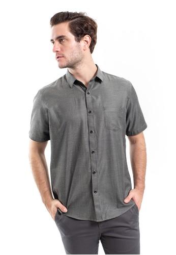 MANLY black Manly Mazella Dark Grey Short Sleeve Slim Fit Shirt 6C74AAAEF021D3GS_1