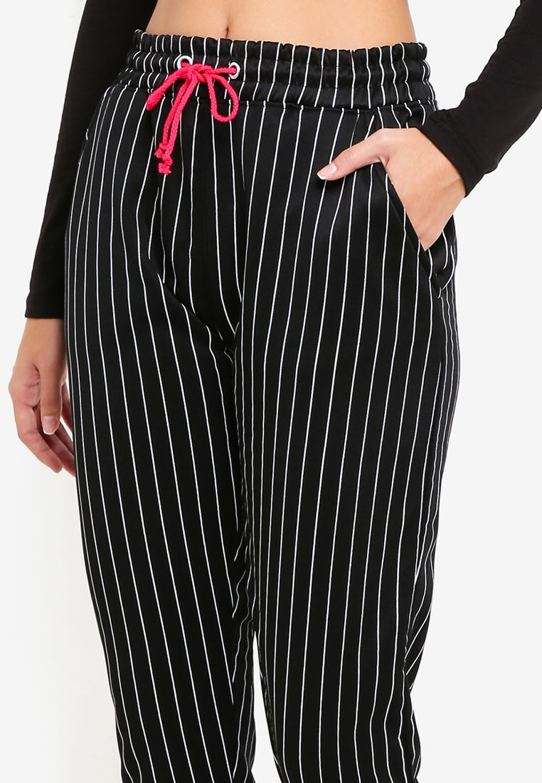 Mb High X Waisted MISSGUIDED Black Mg Pinstripe Joggers 4xgSwwH7q