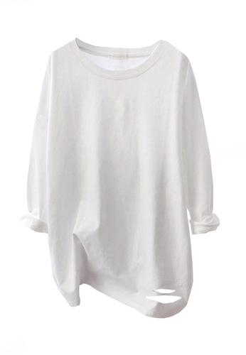 Twenty Eight Shoes white VANSA Solid Color Loose Long-sleeved T-Shirt VCW-Ts8200 DF50EAAF2D77BFGS_1