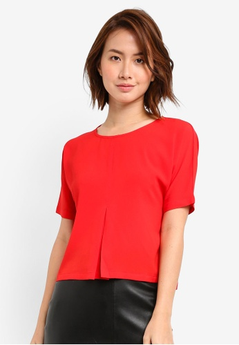 ZALORA BASICS red Top with Central Inverted Pleat A704AAA2DB2D03GS_1