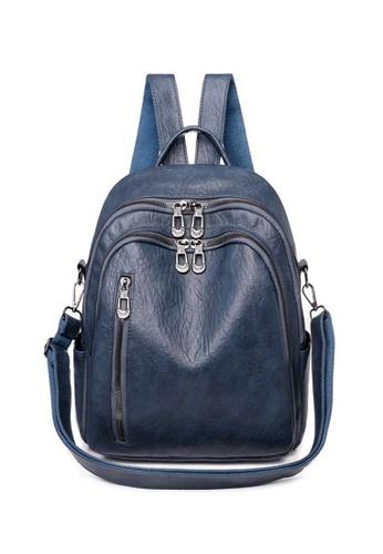 Lara blue Women's Soft PU Leather Zipper Backpack - Blue BA47AACCCA4D40GS_1
