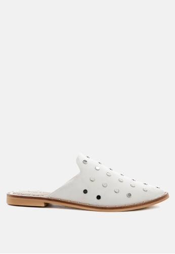 Rag & CO. white Leather Mules with Metal Studs 6DD00SHED214A3GS_1