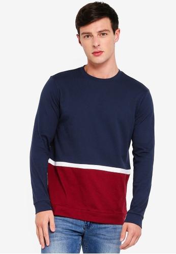 MANGO Man 藍色 撞色拼接T恤 781B1AA324B5B0GS_1