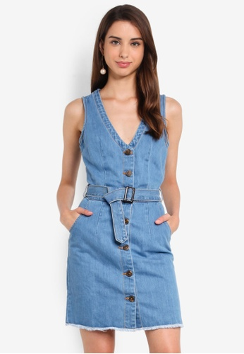 beautiful design promo code new release Stonewash Belted Button Denim Mini Dress