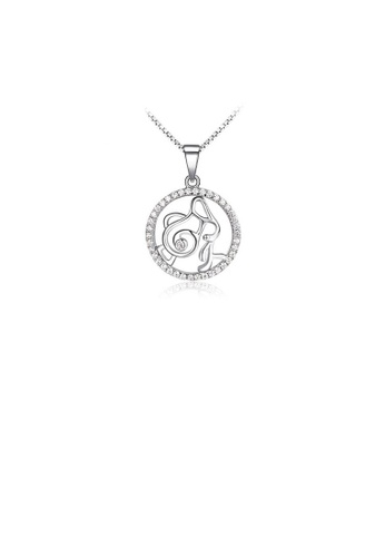 Glamorousky white Fashion 925 Sterling Silver Aquarius Pendant with White Cubic Zircon and Necklace 0204AAC231FE7EGS_1