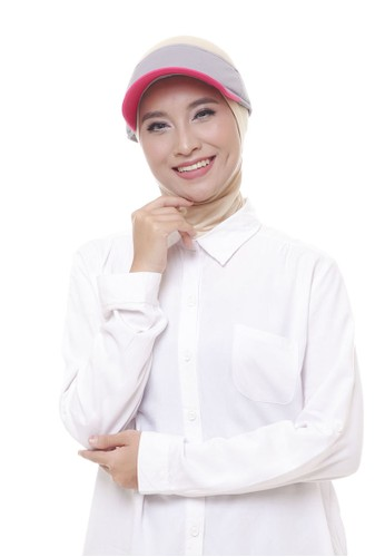 Attiqa Active multi Petite Visory (Grey & Fuschia), Woman Cap 517E9AC22D0302GS_1