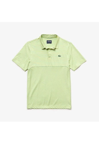 9fe0eca831 Men's Lacoste SPORT Snap Neck Technical Striped Jersey Golf Polo Shirt -  DH3465-10