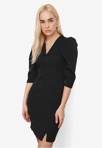 Trendyol black V Collar 3/4 Sleeve Dress 22DFAAA4D5D149GS_1