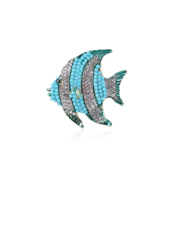 Glamorousky white Simple and Bright Blue Tropical Fish Brooch with Cubic Zirconia A2FE2AC0CCD6E1GS_1