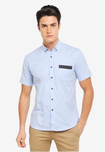 ZALORA blue Contrast Fabric Detail Short Sleeve Shirt A3B1FAAF3D4CD2GS_1