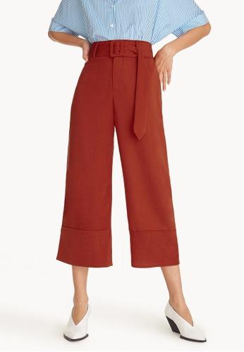 Pomelo orange Belted High Waist Culottes - Orange B3A8EAAA2E1FEFGS_1
