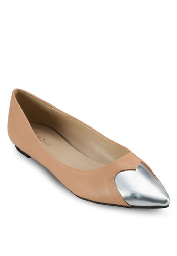 金屬心zalora鞋形尖頭平底鞋, 女鞋, 鞋