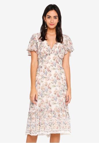Max Studio multi Woven Flounce V Neck Dress A1636AABBCE087GS_1