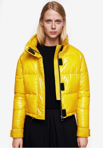 Mango yellow Water-Repellent Quilted Coat MA193AA0S6IWMY_1