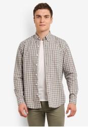 Timberland beige Long Sleeve Gale River Poplin Medium Check Regular Shirt TI063AA0SB8NMY_1
