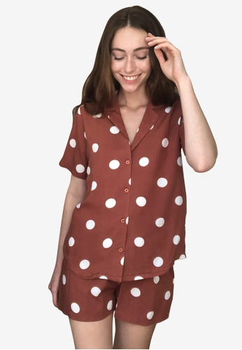 Trendyol 褐色 印花Woven Pajamas Set 2126FAA8260A65GS_1