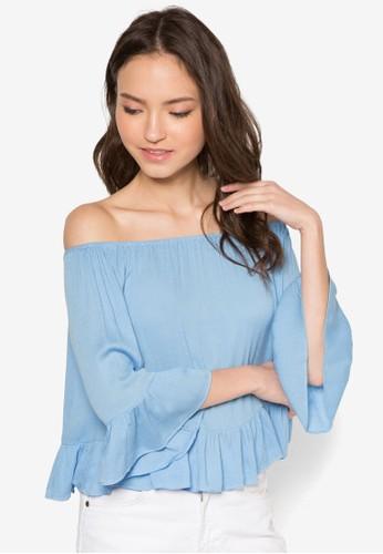 荷葉擺露肩zalora時尚購物網的koumi koumi上衣, 服飾, 短上衣