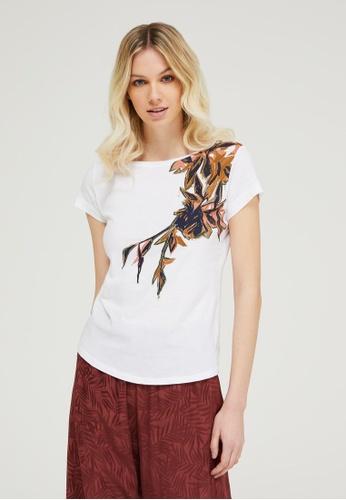 Sisley white Printed T-shirt F20EBAAE03D574GS_1