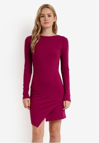 Cotton On purple Riley Long Sleeve Assymetric Bodycon Dress CO372AA0RCP1MY_1