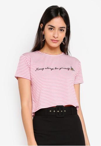 Miss Selfridge pink Petite Stripe Honey Bee Tee 216C9AA6DDFA91GS_1
