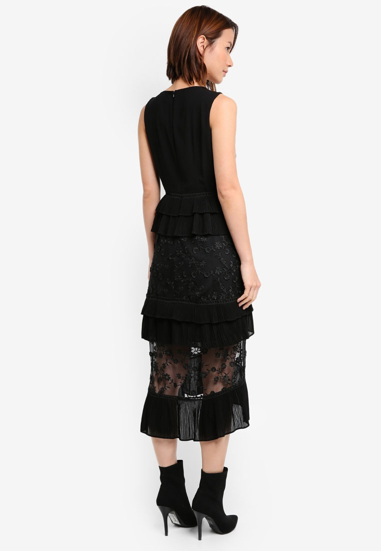 INK Dress Frill Layered Midi LOST 3D Black xHOqXtHvw