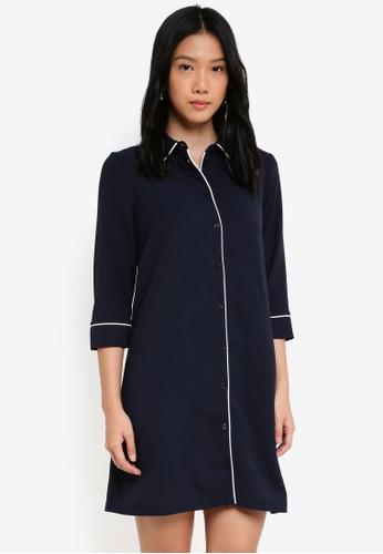 ZALORA white and navy Pajama Dress with Piping 5FB7EAAB783AADGS_1