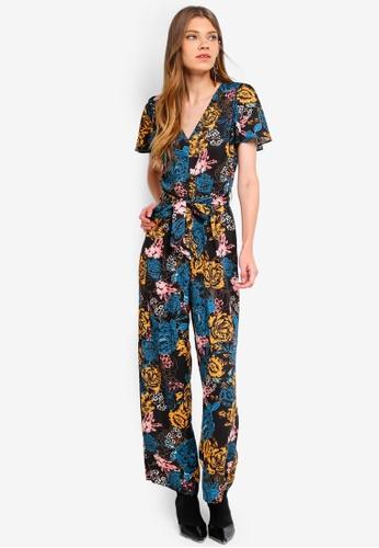 Miss Selfridge black Petite Black Floral Jumpsuit 4B7ACAA70464C3GS_1