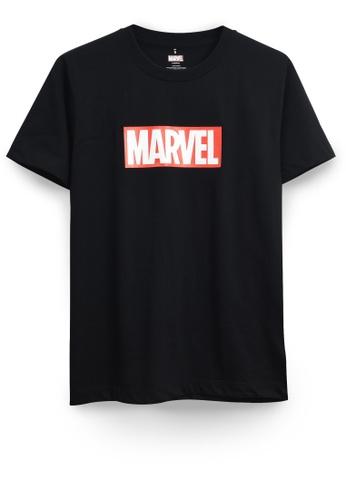 GOLDWOOD black MARVEL LOGO T-SHIRT - BLACK E2272AA37401CBGS_1