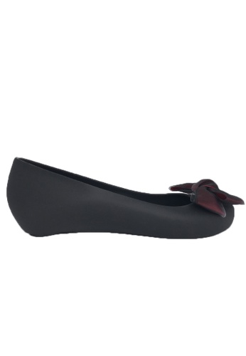 Halo black Bow Waterproof Jelly Flats Shoes 0AF04SH44C8BBBGS_1