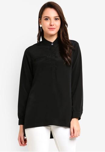 Qasaya black Modest Blouse 3C59EAA353944FGS_1