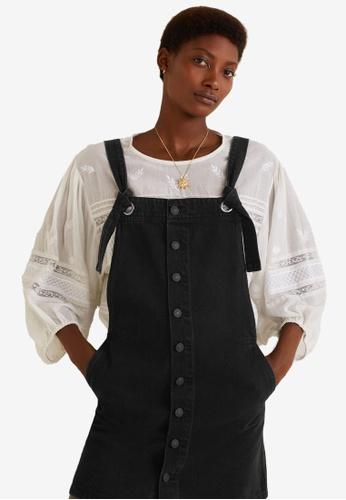 Mango grey Black Denim Pinafore Dress B0982AABAB0DC3GS_1