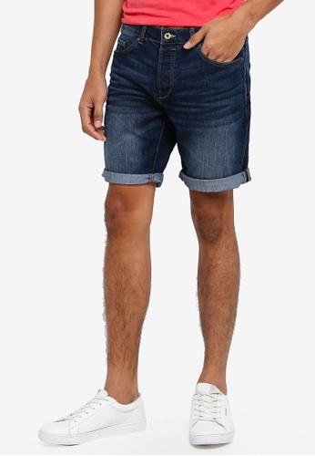 !Solid 藍色 休閒牛仔短褲 9F013AA361AA25GS_1
