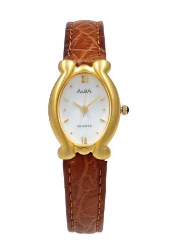 Alba brown ALBA Jam Tangan Wanita - Brown Gold White - Leather Strap - ATCY12 D7D2CAC74FC75FGS_1