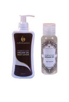 Moroccan Argan Oil Body Lotion 200ml (Premium) and Moroccan Argan Oil Hair Serum 60ml (Elite) Bundle