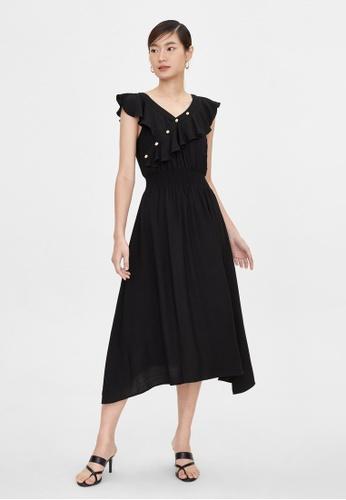 Pomelo black Ruffled Neck Elastic Waist Dress - Black 0357BAA08EEAECGS_1