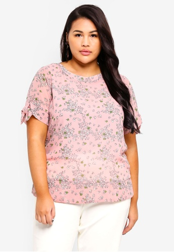 Ex'otico pink Plus Size Short Sleeve Printed Blouse DA6F3AA64861A7GS_1