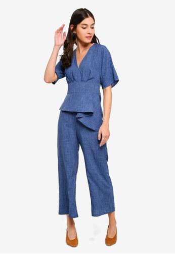ZALORA blue Overlap Jumpsuit 2D676AA1EC4DC6GS_1
