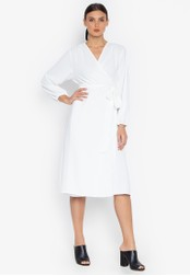 Susto The Label white Hope Wrap Billowy Sleeve Dress 24E77AAB984D86GS_1