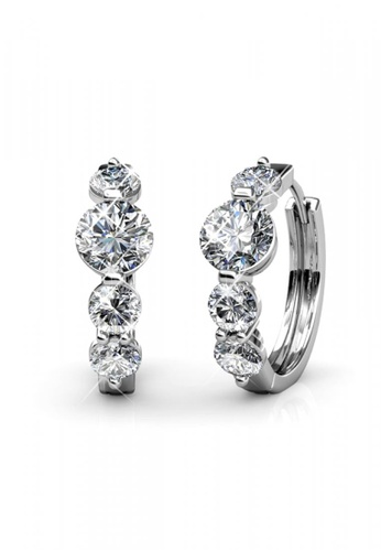 Her Jewellery silver Swarovski® Crystals - Princess Ring Earrings (18K White Gold Plated) Her Jewellery HE581AC0RAYWMY_1
