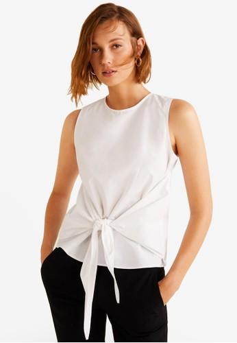 MANGO white Knotted-Hem Cotton Blouse 2EB67AA49BDE09GS_1