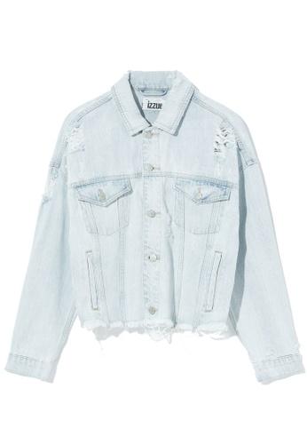 izzue blue Cropped distressed denim jacket D6C7EAAC67D4A2GS_1